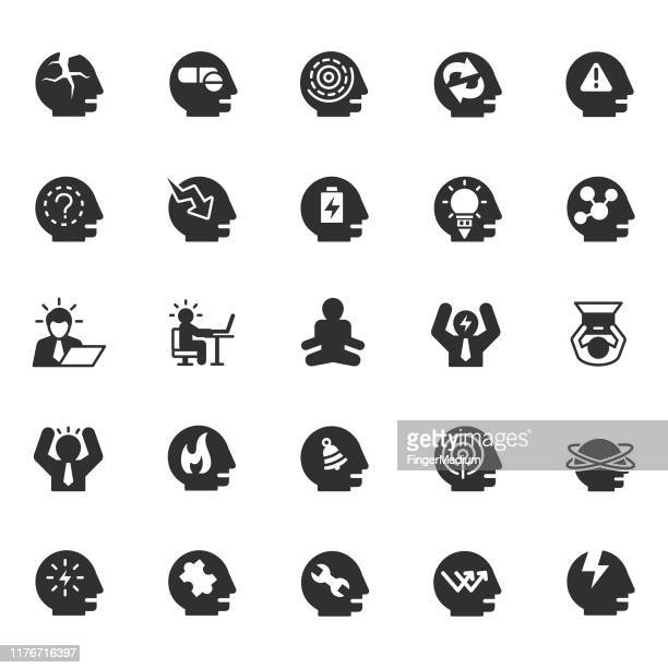 stress and depression icons - mental wellbeing stock illustrations