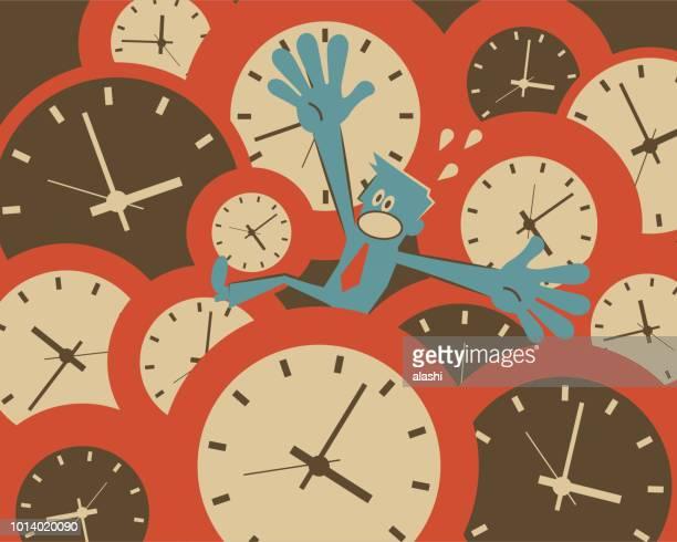 illustrations, cliparts, dessins animés et icônes de pression de stress et du temps, date limite, notion d'heures supplémentaires, homme d'affaires (homme), se noyer dans beaucoup d'horloges de pointage - crouler sous le travail