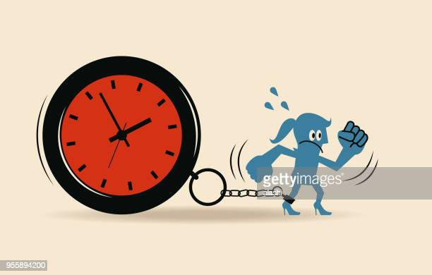 stress and time pressure, deadline, overtime concept, businesswoman running with a big clock - struggle stock illustrations