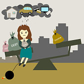 stress woman can't balance income and debt for expeses , vector illustration