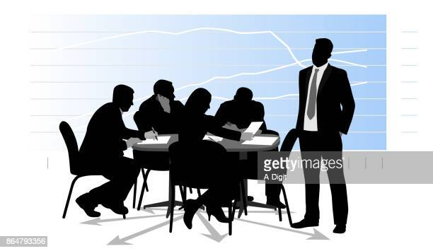 stressed and tired marketing meeting - board room stock illustrations