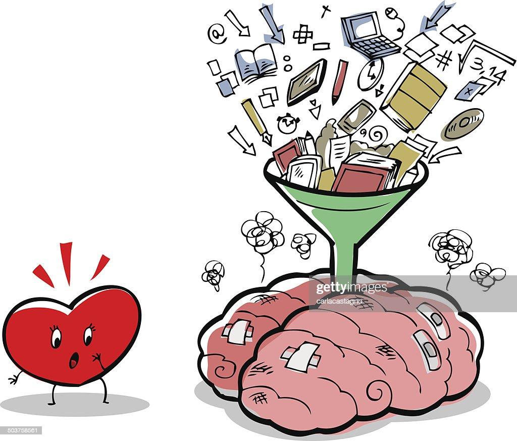 Stressed brain full of things