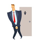 Stressed businessman wanting to pee stands in front of a WC door. Isolated illustration on white backgroud. Cartoon vector image.
