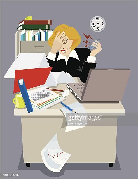 ilustrações de stock, clip art, desenhos animados e ícones de salientou executivo mulher em seu escritório. - ansiedade
