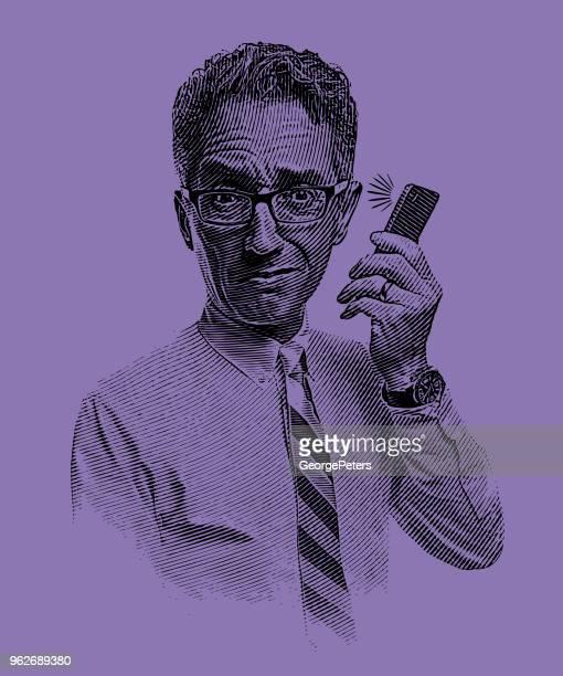電話で話しているビジネスマンがたまってください。