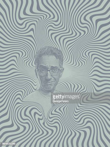 Stressed out businessman with halftone pattern background