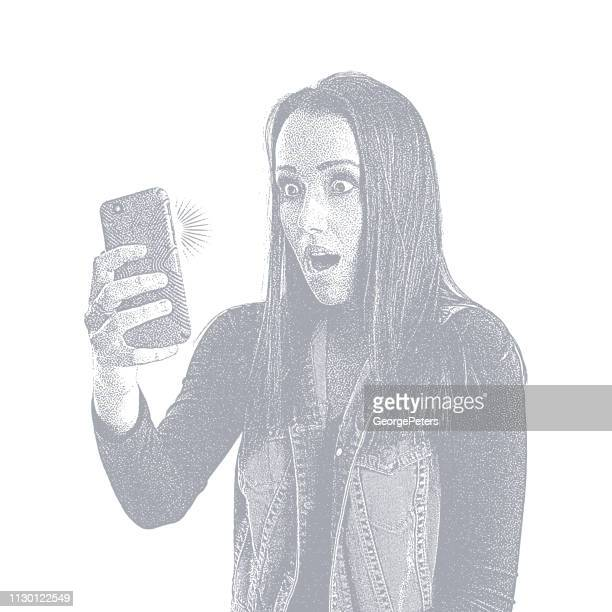 stressed out young on phone with shocked facial expression - desaturated stock illustrations, clip art, cartoons, & icons