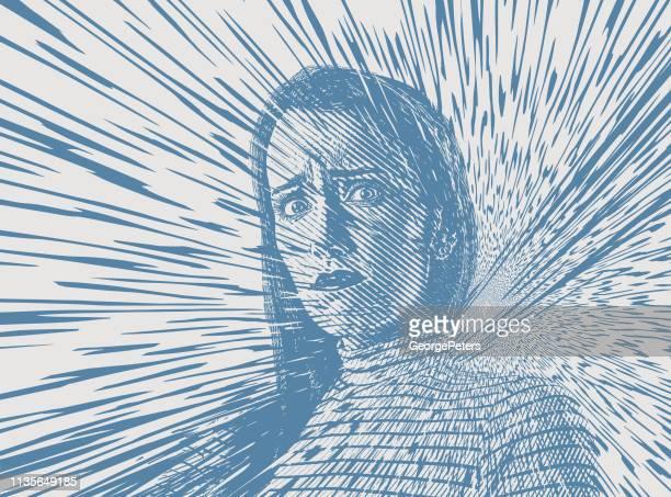 illustrations, cliparts, dessins animés et icônes de jeune femme stressée avec des rayons solaires vectoriels - crouler sous le travail
