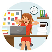 stressed woman at work office Flat Design