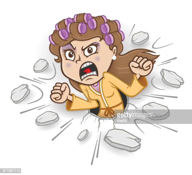 stressed woman loud yelling screaming housewife punching hole in a wall - menopause stock illustrations, clip art, cartoons, & icons