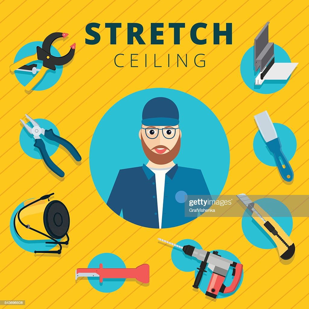 Stretch ceiling vector tools and worker