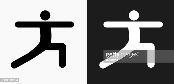 stretch icon on black and white vector backgrounds - sport set competition round stock illustrations