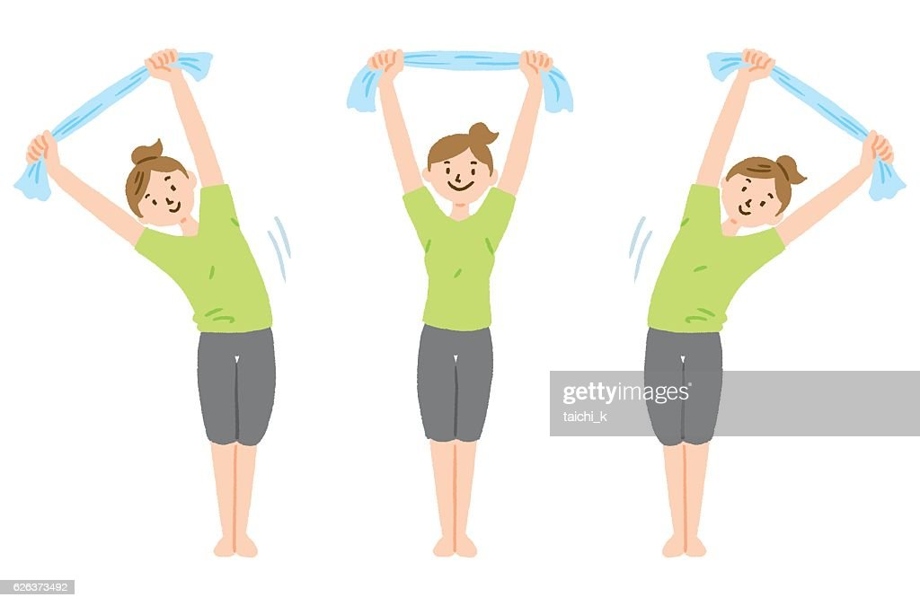 Stretch with towel : stock illustration