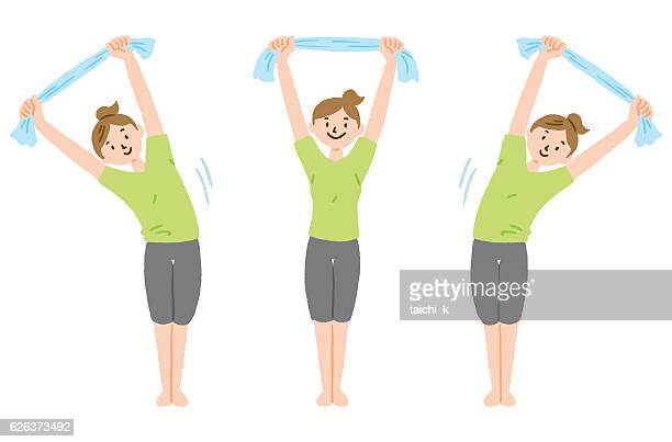 stretch with towel - stretching stock illustrations