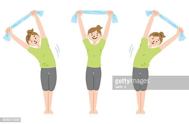 Stretch with towel