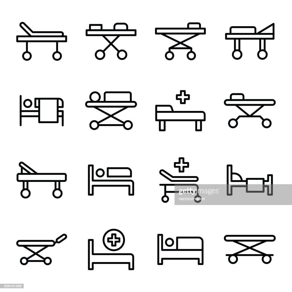 Stretcher Line Vector Icons Set