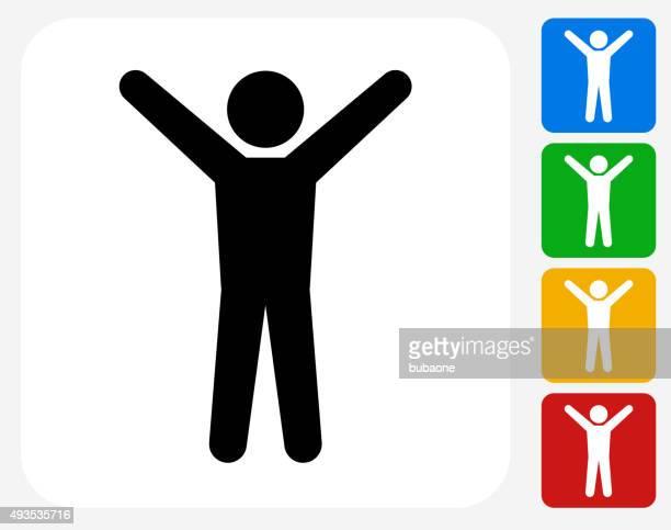 ストレッチグラフィックデザインアイコンフラット - 棒人間点のイラスト素材/クリップアート素材/マンガ素材/アイコン素材