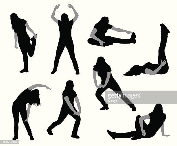 stretching vector silhouette - touching toes stock illustrations, clip art, cartoons, & icons