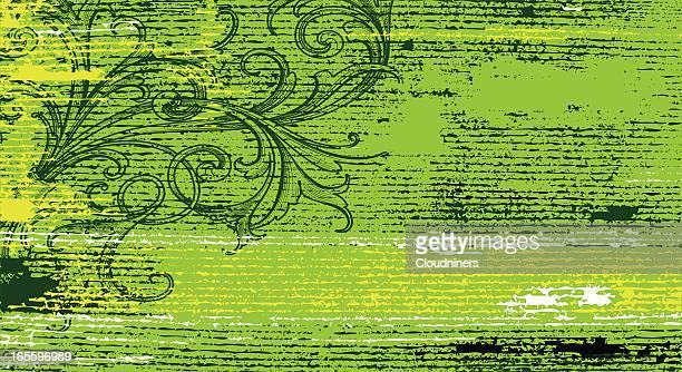 striated green banner - run down stock illustrations, clip art, cartoons, & icons