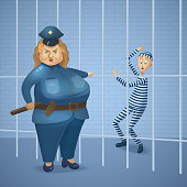 Strict policewoman and prisoner at jail.