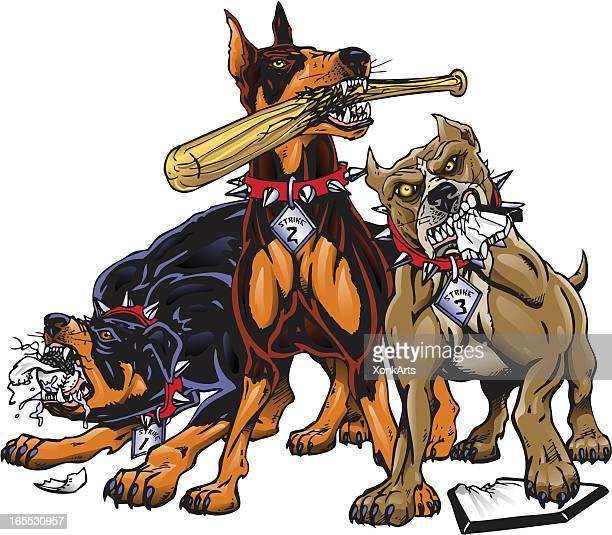 ilustraciones, imágenes clip art, dibujos animados e iconos de stock de strikeout perros - pit bull terrier