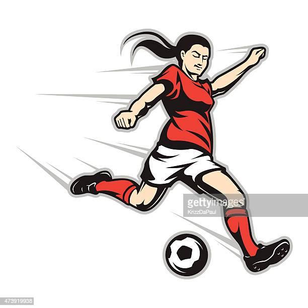 striker - women's soccer stock illustrations