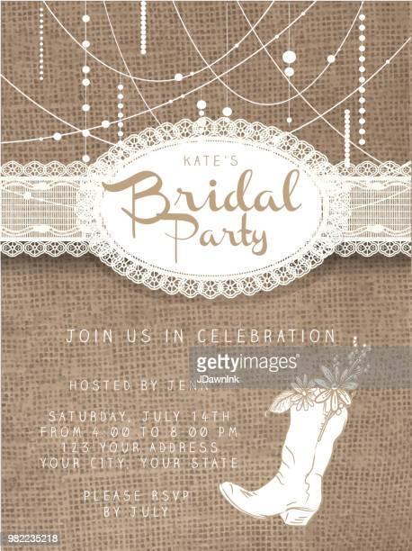 黄麻布の素朴な背景を持つ文字列ビーズ デザインの招待状のテンプレート - 荒い麻布点のイラスト素材/クリップアート素材/マンガ素材/アイコン素材