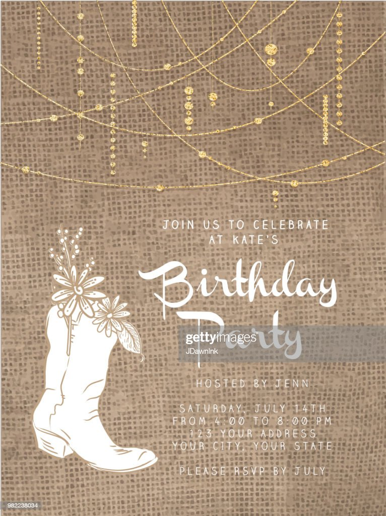 string beads design invitation template with rustic burlap