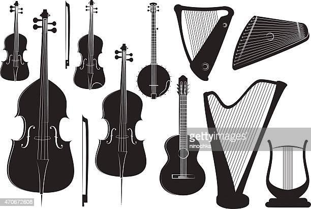 string instruments - bass instrument stock illustrations, clip art, cartoons, & icons