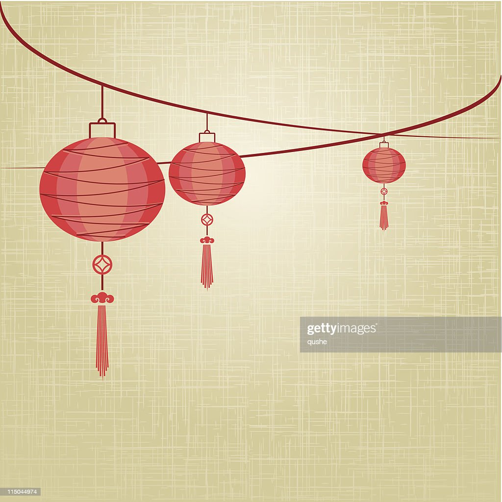 String of red lanterns are hanging on linen texture background