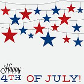 String of stars Independence Day card in vector format.