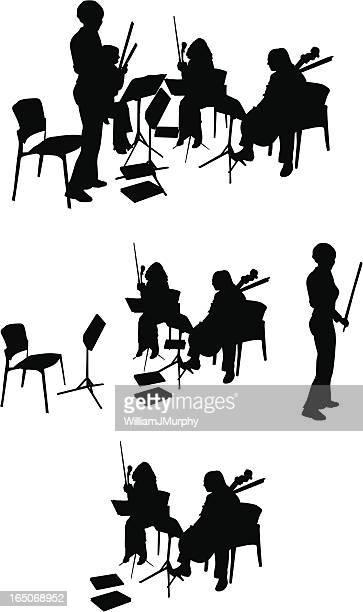illustrations, cliparts, dessins animés et icônes de quatuor à cordes silhouette (vecteur dessin - pupitre à musique