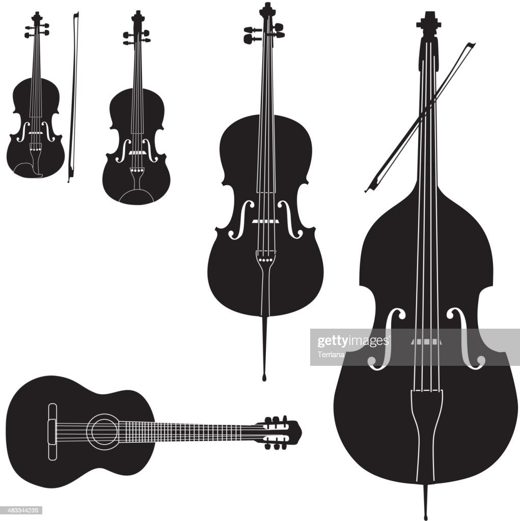 Stringed music instrument icons collection