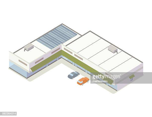 strip mall isometric illustration - mathisworks architecture stock illustrations