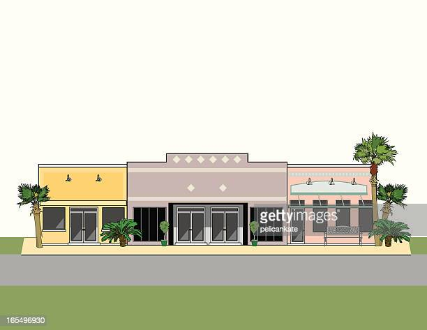 Strip Mall with Palm Trees