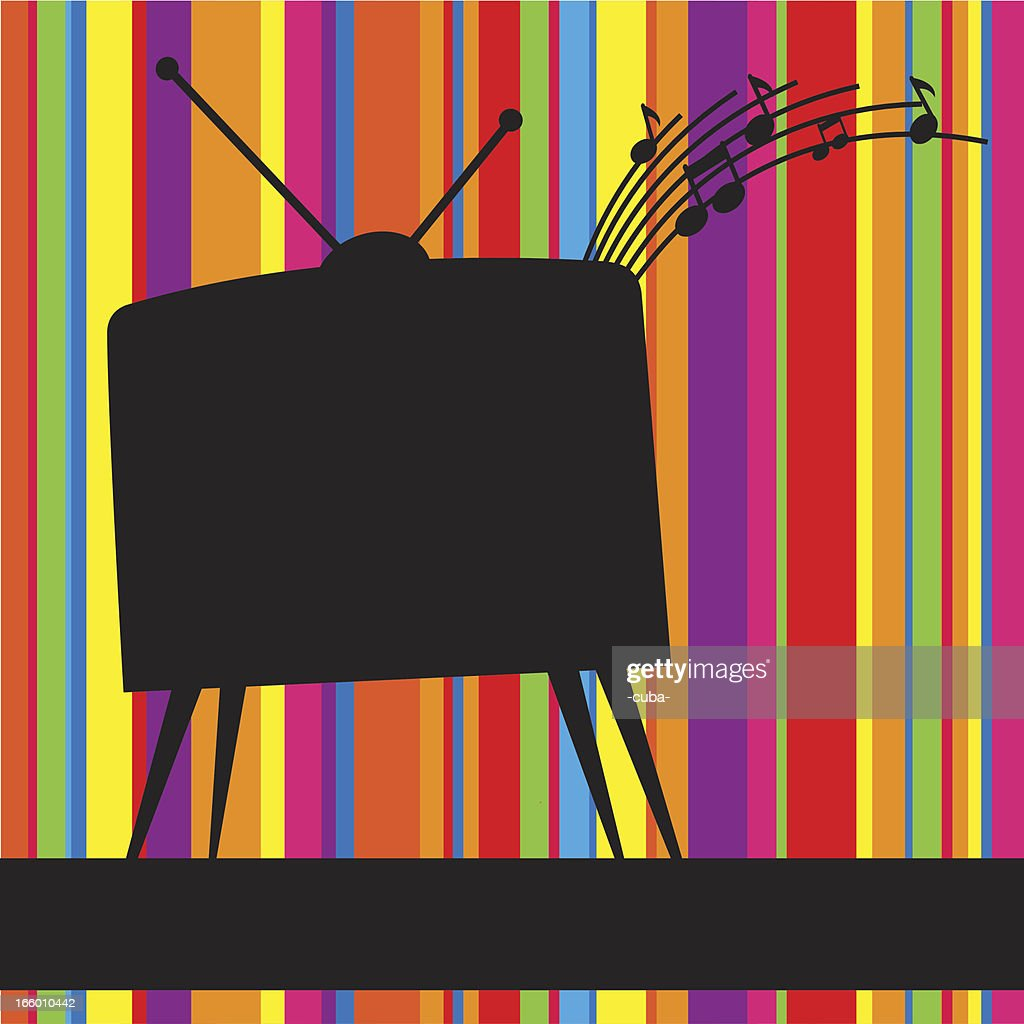 Striped background with retro TV
