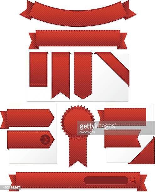 Striped Corner, Edge Ribbons, Labels, Banners, Stickers Set: Red Satin