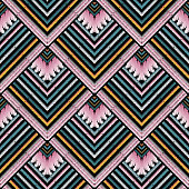 Striped embroidery vector seamless pattern. Grunge tapestry stripes, borders. Geometric ethnic style tribal zig zag background. Embroidered colorful tiled zigzag ornament. Ornate grungy design