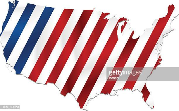 USA striped flag map on white background