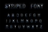 3D Striped Font on black background