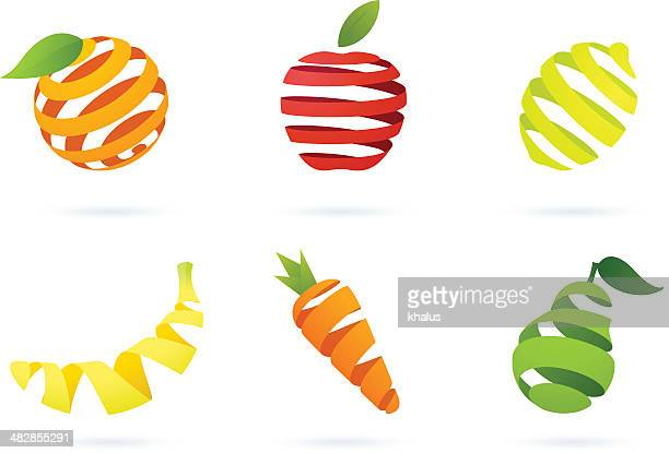 striped fruits - apple fruit stock illustrations