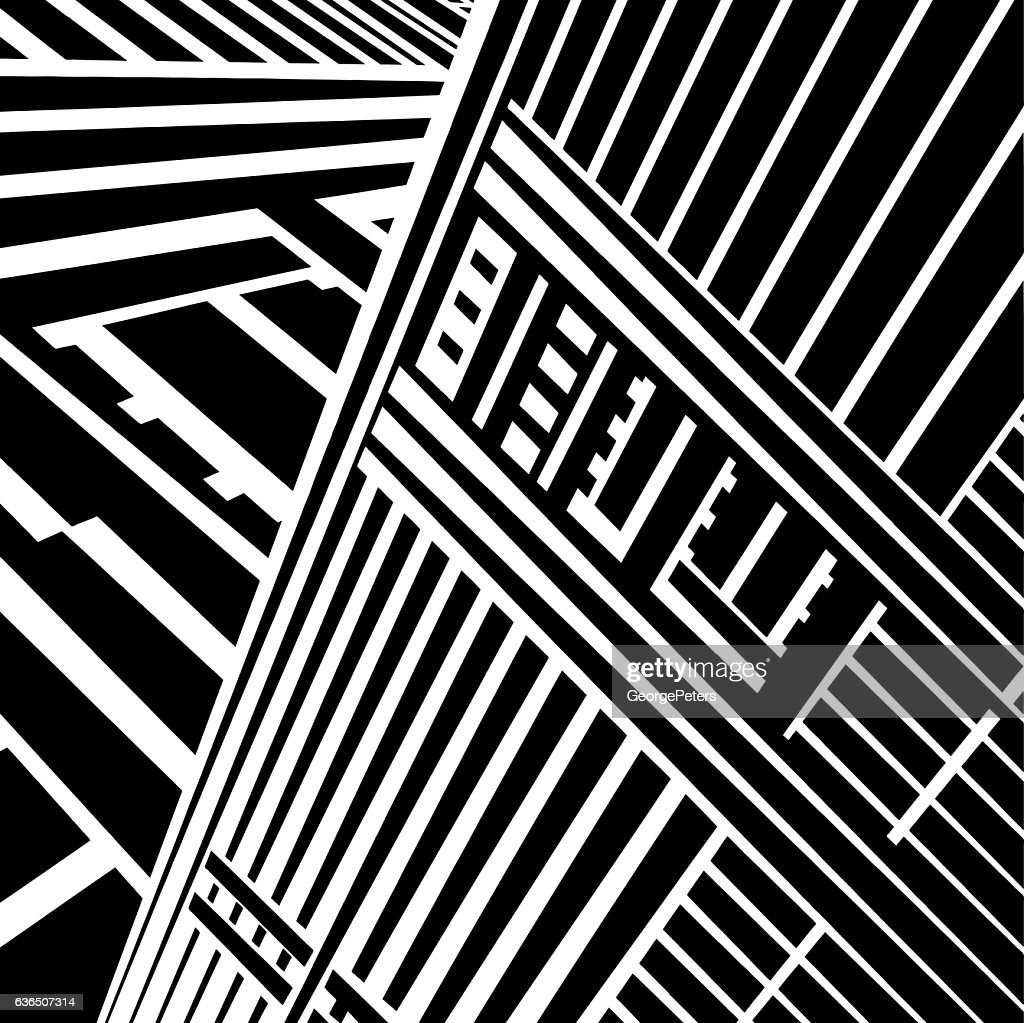 Striped Halftone Pattern Suggesting A Skyscraper and Cyberspace