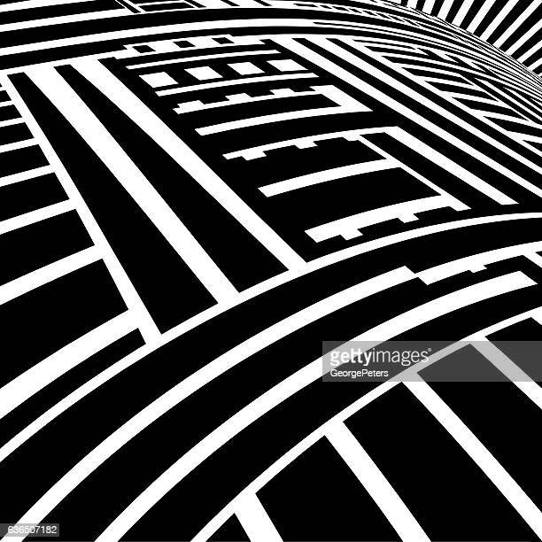 striped halftone pattern suggesting cyberspace - overpass road stock illustrations