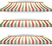 Striped Italian Awnings Set For Italian Pizzeria