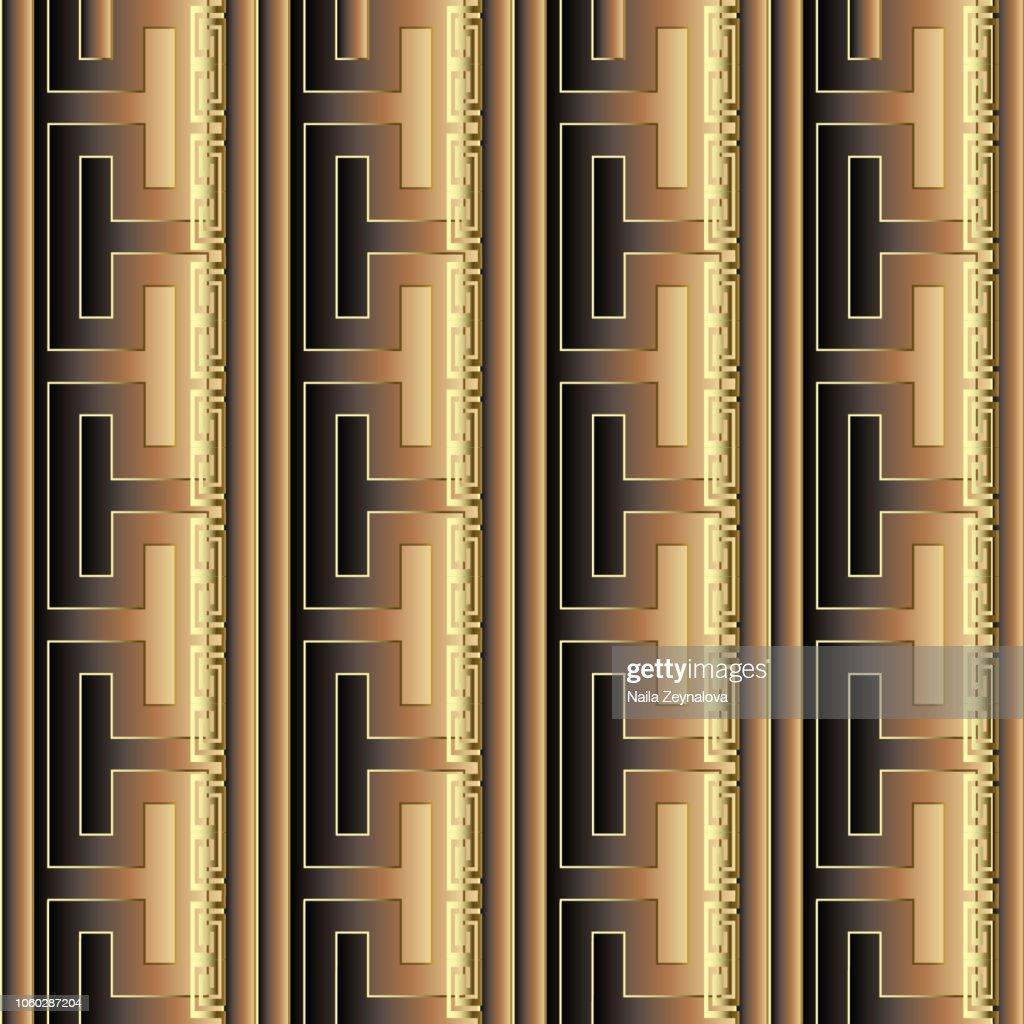 Striped ornate gold 3d greek vector seamless pattern. Abstract modern geometric surface background. Vertical greek key meanders borders, stripes, ornament.  Repeat ornamental gradient trendy backdrop.