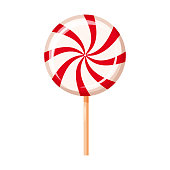 Striped peppermint candy, caramel, vector. Cartoon style, isolated