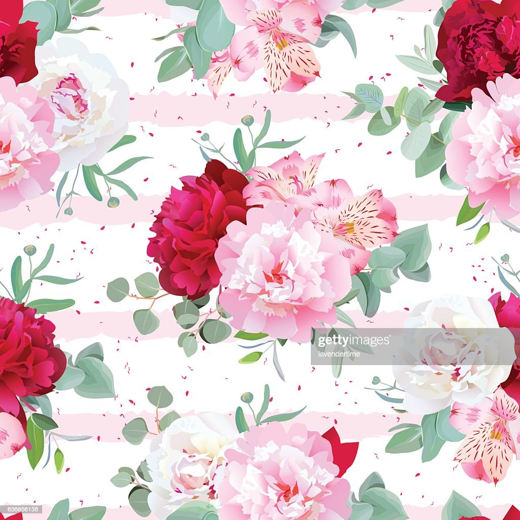 Striped pink floral seamless vector print with flowers