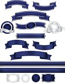 Striped Ribbons, Labels, Banners, Stickers, Buttons: Dark Blue, Silver