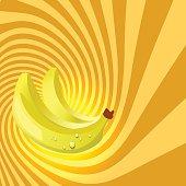 Striped spiral banana patisserie background.