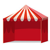 Stripped Promotional Outdoor Event Trade Show Pop-Up Red Tent Mobile Marquee. Mockup, Mock Up, Template. Illustration Isolated On White Background. Ready For Your Design. Product Advertising. Vector EPS10